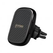 Incarcator Auto Wireless Pitaka MagEZ QI Car Vent, Fast Wireless (10W / 7.5W), Magnetic, Fibra Aramida, Negru CM3001Q
