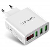 Incarcator Retea USB Usams CC35TC04, 3A LED, 3 x USB, Alb, Blister