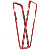 Husa Aluminiu OEM Magnetic Frame Hybrid Cu Spate Din Sticla Pentru Apple iPhone 11, Rosie, Blister