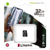 Card Memorie MicroSDHC Kingston Canvas Select Plus, 32Gb, Clasa 10 / UHS-1 U1, Blister SDCS2/32GBSP