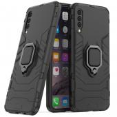 Husa Plastic - TPU OEM Ring Tough Armor Kickstand pentru Samsung Galaxy A50 A505, Neagra, Bulk