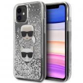 Husa TPU Karl Lagerfeld Glitter Karl & Choupette pentru Apple iPhone 11, Argintie, Blister KLHCN61KCGLSL