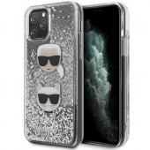 Husa TPU Karl Lagerfeld Glitter Karl & Choupette pentru Apple iPhone 11 Pro Max, Argintie KLHCN65KCGLSL