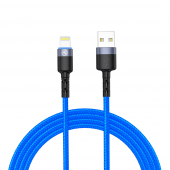 Cablu Date si Incarcare USB la Lightning Tellur LED, 3A, 1.2 m, Albastru TLL155364