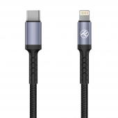 Cablu Date si Incarcare USB Type-C la Lightning Tellur, 18W, 1 m, Negru TLL155384