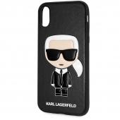 Husa TPU Karl Lagerfeld Ikonik pentru Apple iPhone X / Apple iPhone XS, Neagra KLHCPXIKPUBK