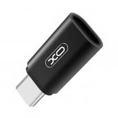 Adaptor OTG MicroUSB la USB Type-C XO Design NB131, Negru, Blister