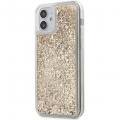 Husa Plastic - TPU Guess 4G Liquid Glitter pentru Apple iPhone 12 / Apple iPhone 12 Pro, Aurie GUHCP12MLG4GSLG