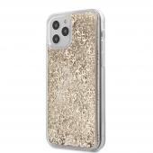 Husa Plastic - TPU Guess 4G Liquid Glitter pentru Apple iPhone 12 Pro Max, Aurie, Blister GUHCP12LLG4GSLG
