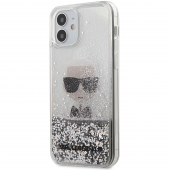 Husa TPU Karl Lagerfeld pentru Apple iPhone 12 Pro Max, Liquid Glitter Iconic, Argintie KLHCP12LGLIKSL