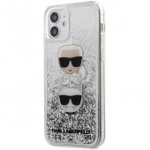 Husa TPU Karl Lagerfeld pentru Apple iPhone 12 Pro Max, Liquid Glitter 2 Heads, Argintie KLHCP12LKCGLSL