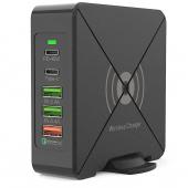 Incarcator Retea Statie USB OEM F88W, 3 x USB - 2 x USB Type-C - Wireless, 75W, Quick Charge - Power Delivery - Fast Wireless, Negru