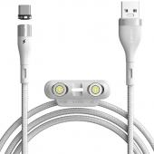 Cablu Incarcare USB - Lightning / USB Type-C / MicroUSB Baseus Zinc 3in1, 1 m, 5A, Alb CA1T3-B02