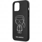 Husa Piele Karl Lagerfeld Embossed pentru Apple iPhone 12 Pro Max, Alba Neagra, Blister KLHCP12LPCUIKWH