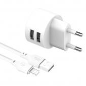 Incarcator Retea cu cablu MicroUSB XO Design L62, 2 X USB, 2.4A, Alb