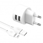 Incarcator Retea cu cablu Lightning XO Design L62, 2 X USB, 2.4A, Alb
