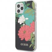 Husa Plastic - TPU Guess Flower Shiny N.1 pentru Apple iPhone 12 / Apple iPhone 12 Pro, Neagra GUHCP12MIMLFL01