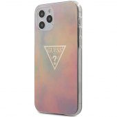 Husa TPU Guess T&D Gold Triangle 01 pentru Apple iPhone 12 Pro Max, Roz, Blister GUHCP12LPCUMCGG01