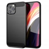 Husa TPU OEM Carbon pentru Apple iPhone 12 Pro Max, Neagra