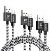 Cablu Date si Incarcare USB la Lightning DUX DUCIS K-ONE, Set 3 Buc (0.25 m / 1 m / 2 m), 2A, Negru