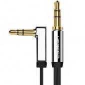 Cablu Audio 3.5 mm la 3.5 mm UGREEN Flat, TRS - TRS, Forma L, 2 m, Argintiu