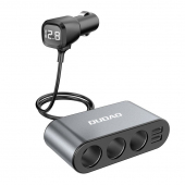 Adaptor Auto Bricheta Dudao R1 Pro, 3 Iesiri Bricheta, 2 x USB, Afisaj Led, Negru Gri