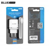 Incarcator Retea cu cablu Lightning BLUE Power BLBA25A Outstanding, 2 X USB, 2.4 A, Alb