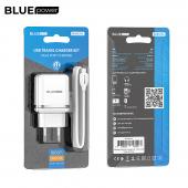 Incarcator Retea cu cablu MicroUSB BLUE Power BMBA25A Outstanding, 2 X USB, 2.4 A, Alb