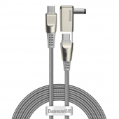 Cablu Incarcare USB Type-C la USB Type-C / C+DC Baseus CA1T2, 2in1, 2 m, 100W, 5A, Gri CA1T2-A0G