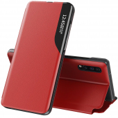 Husa Piele OEM Eco Leather View pentru Samsung Galaxy S20 FE G780 / Samsung Galaxy S20 FE 5G G781, cu suport, Rosie