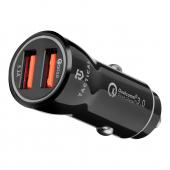 Incarcator Auto USB Tactical YSL-399, 2 x USB, 18W, Quick Charge, Negru