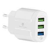 Incarcator Retea USB Tactical 13-222, 3 x USB, Quick Charge, 18W, Alb