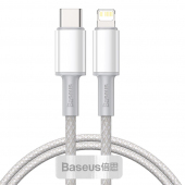 Cablu Date si Incarcare USB Type-C la Lightning Baseus, 1 m, 20W, Alb CATLGD-02