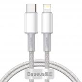 Cablu Date si Incarcare USB Type-C la Lightning Baseus, 2 m, 20W, Alb CATLGD-A02