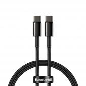 Cablu Date si Incarcare USB Type-C la USB Type-C Baseus, 2 m, 100 W, 5 A, Negru CATWJ-A01