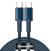 Cablu Date si Incarcare USB Type-C la USB Type-C Baseus, 2 m, 100W, 5A, Albastru CATGD-A03