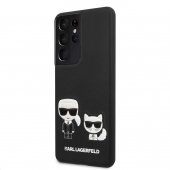 Husa Plastic - Piele Karl Lagerfeld Karl &Choupette pentru Samsung Galaxy S21 Ultra 5G, Neagra KLHCS21LPCUSKCBK