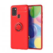 Husa TPU Lenuo Invisible Holder pentru Samsung Galaxy A21s, Rosie