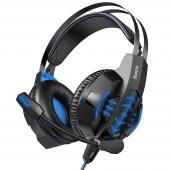 Casti Gaming HOCO W102 Cool, cu microfon, 3.5 mm, USB, Negre Albastre