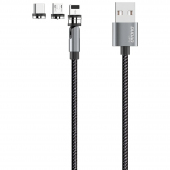 Cablu Incarcare USB - Lightning / USB Type-C / MicroUSB Dudao L9Pro, 1 m, Magnetic, 3 in 1, 3A, Gri