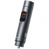 Modulator FM Bluetooth Baseus Energy Column, Mp3 Player, Buton de apel, 2 x USB, Quick Charge, Gri CCNLZ-C0G