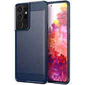 Husa TPU OEM Carbon pentru Samsung Galaxy S21 Ultra 5G, Bleumarin