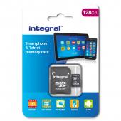 Card Memorie MicroSDHC Integral, 128Gb, Clasa 10, UHS-I U1, cu adaptor INMSDX128G10-80SPTAB