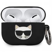 Husa Protectie Casti Karl Lagerfeld Choupette pentru Apple AirPods Pro, Neagra KLACAPSILCHBK