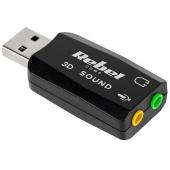 Placa de sunet USB REBEL, 5.1, 3D, Neagra