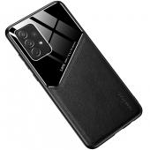 Husa Piele OEM LENS pentru Samsung Galaxy A72 4G, cu spate din sticla, Neagra