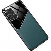 Husa Piele OEM LENS pentru Samsung Galaxy A52 A525, cu spate din sticla, Verde