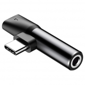 Adaptor Audio USB Type-C - USB Type-C / 3.5 mm Baseus L41, Negru CATL41-01