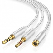 Adaptor Audio 3.5 mm la 3.5 mm UGREEN AV140, Mama - Tata (2 x TRS),  0.2 m, Alb