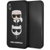 Husa Plastic - Piele Karl Lagerfeld Karl & Choupette pentru Apple iPhone XR, Neagra KLHCI61KICKC